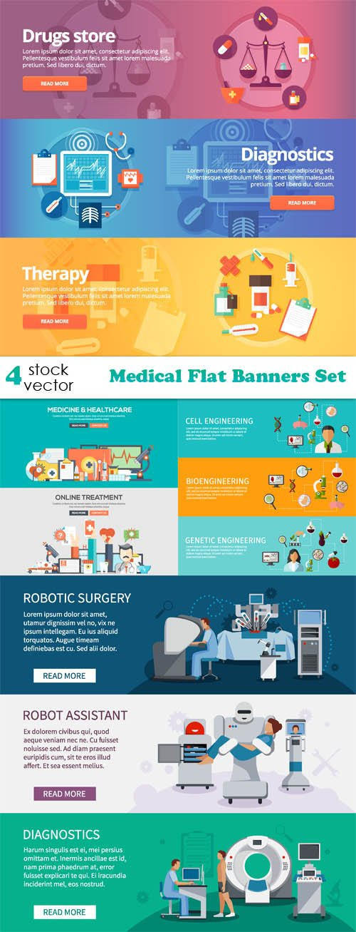 Vectors - Medical Flat Banners Set