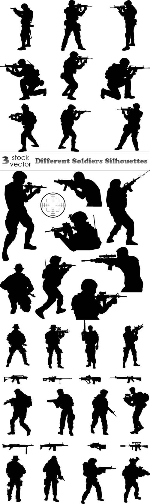 Vectors - Different Soldiers Silhouettes