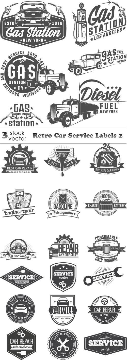 Vectors - Retro Car Service Labels 2