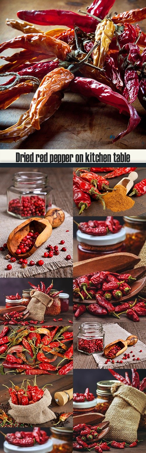 Dried red pepper on kitchen table