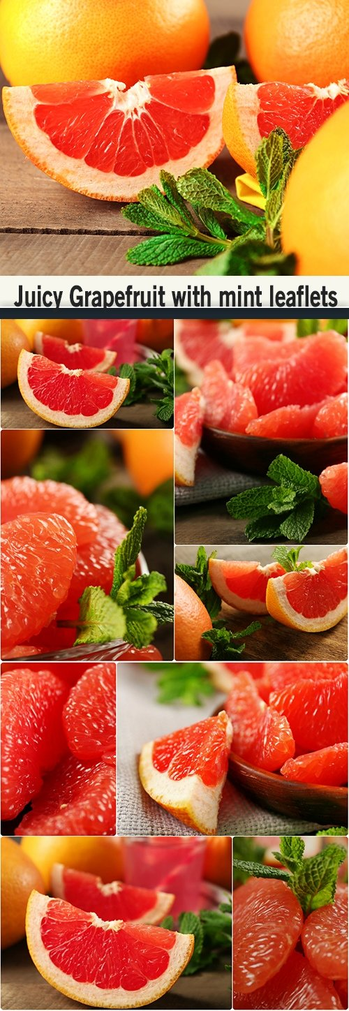 Juicy Grapefruit with mint leaflets