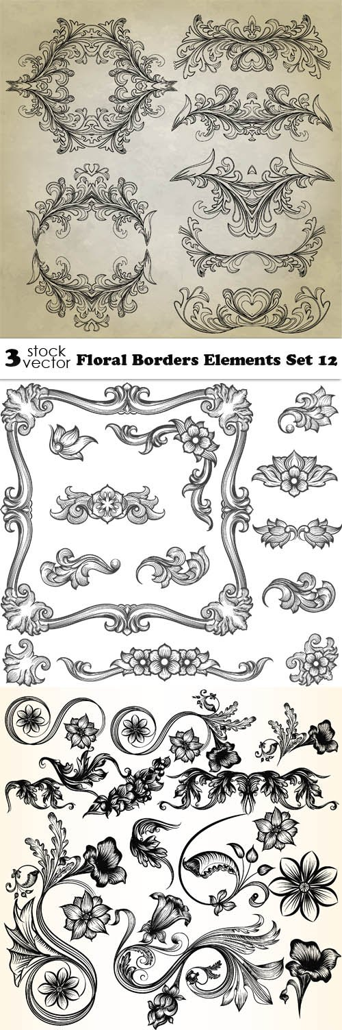 Vectors - Floral Borders Elements Set 12