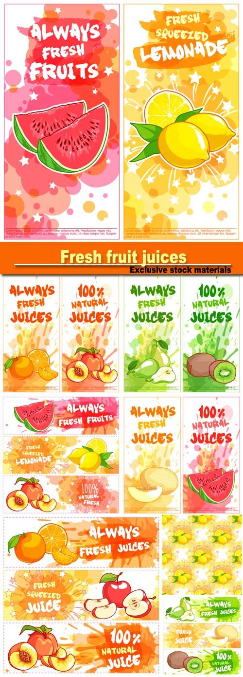Fresh fruit juices, labels and banners