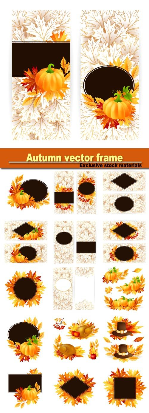 Autumn vector frame with leaves and mountain ash, pumpkin