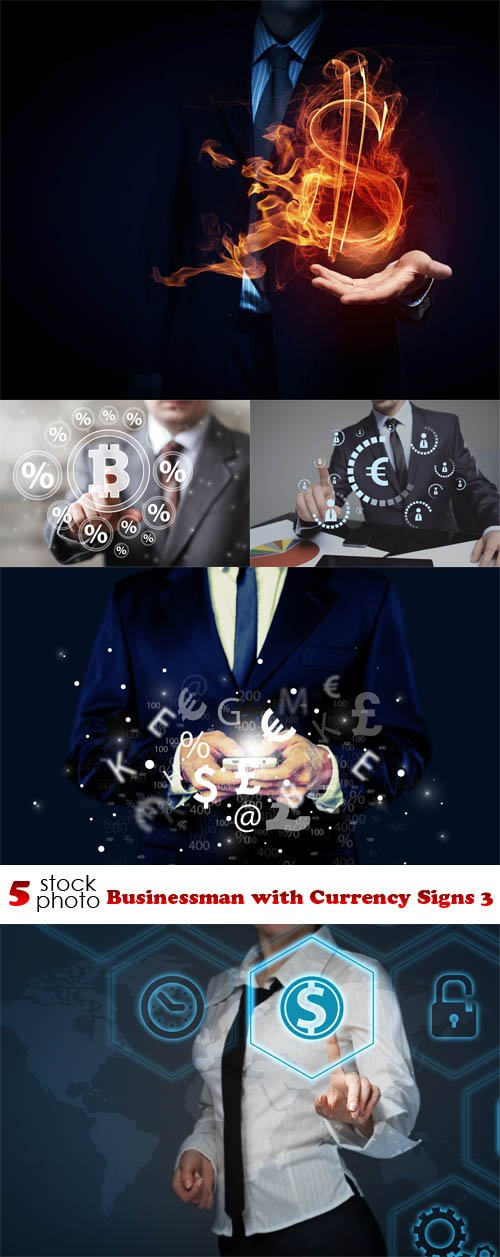 Photos - Businessman with Currency Signs 3