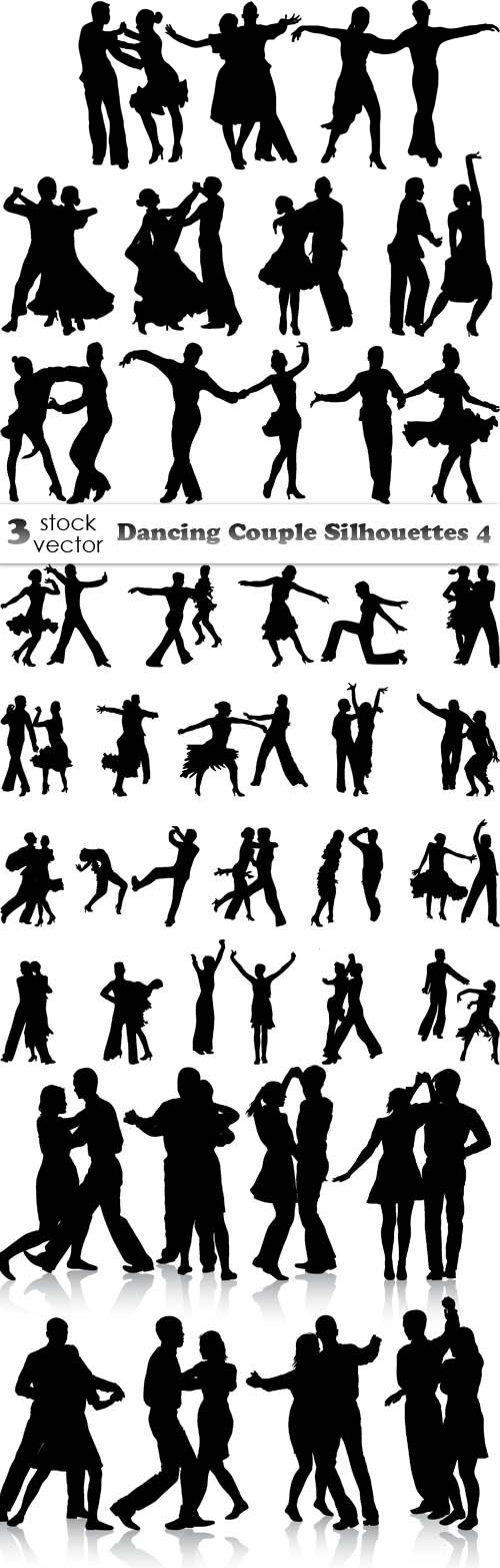 Vectors - Dancing Couple Silhouettes 4