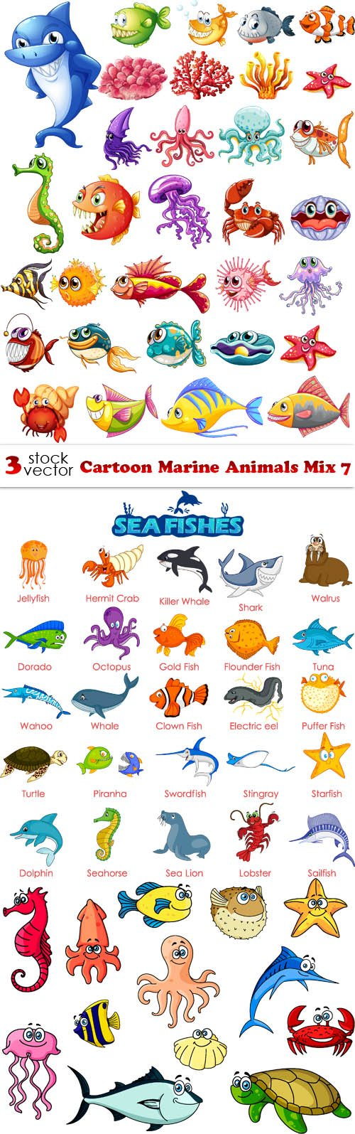 Vectors - Cartoon Marine Animals Mix 7