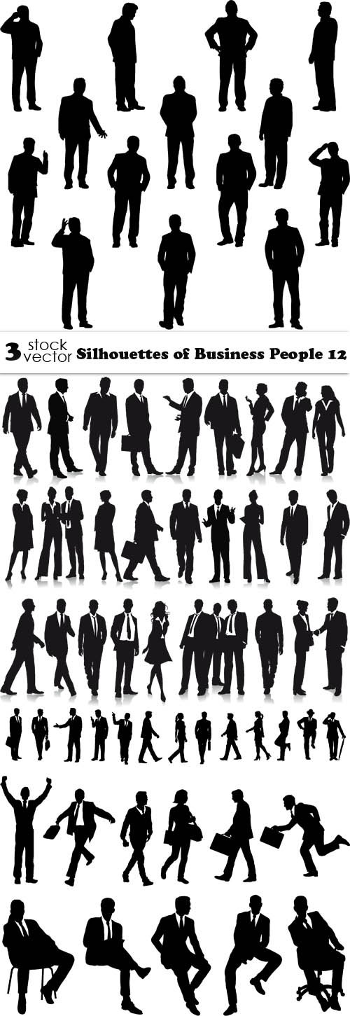 Vectors - Silhouettes of Business People 12