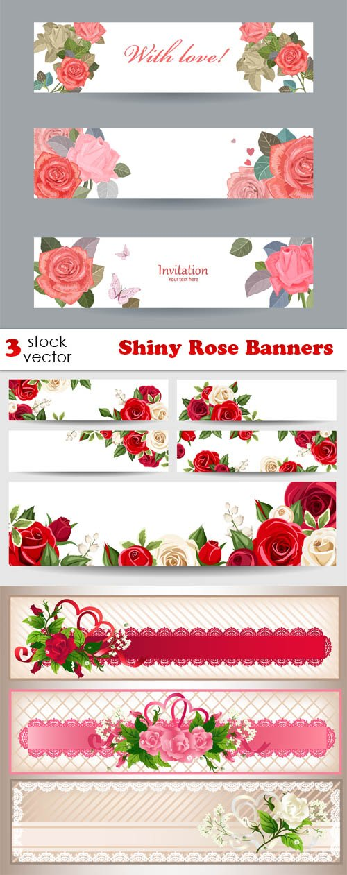 Vectors - Shiny Rose Banners
