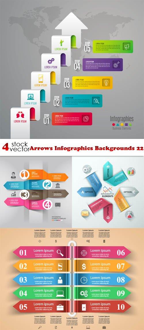 Vectors - Arrows Infographics Backgrounds 22