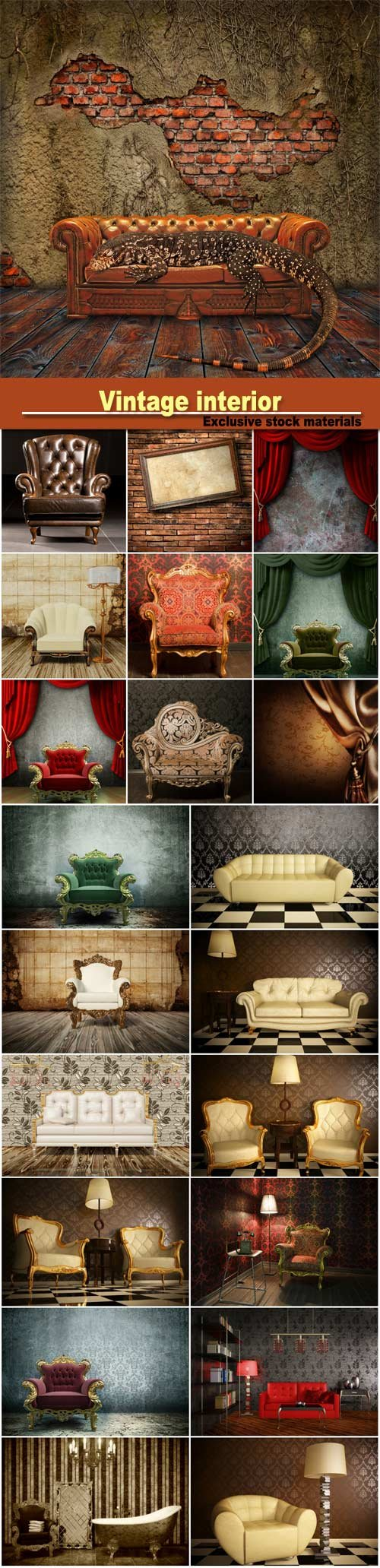 Vintage interior, sofas and armchairs