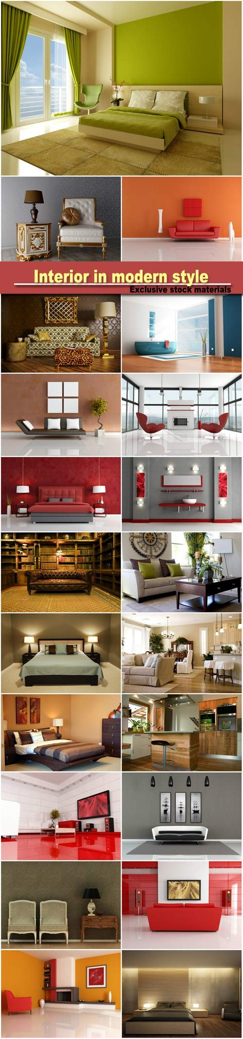 Interior in modern style, armchairs, sofas, bedroom
