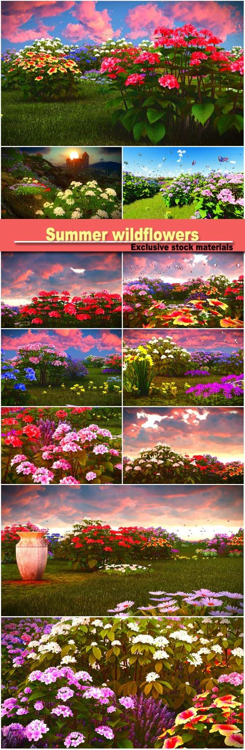 Summer wildflowers on meadow 3d rendering