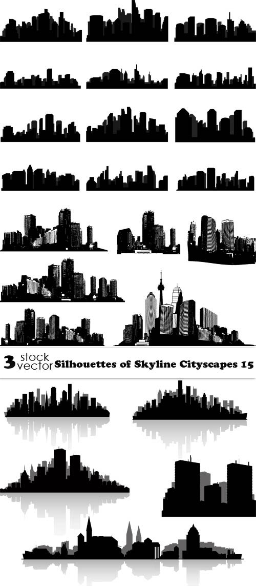 Vectors - Silhouettes of Skyline Cityscapes 15
