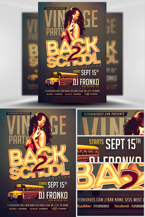 Flyer Template - Vintage Back To School Party