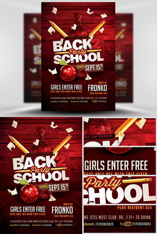 Party Flyer Template - Back To School 7