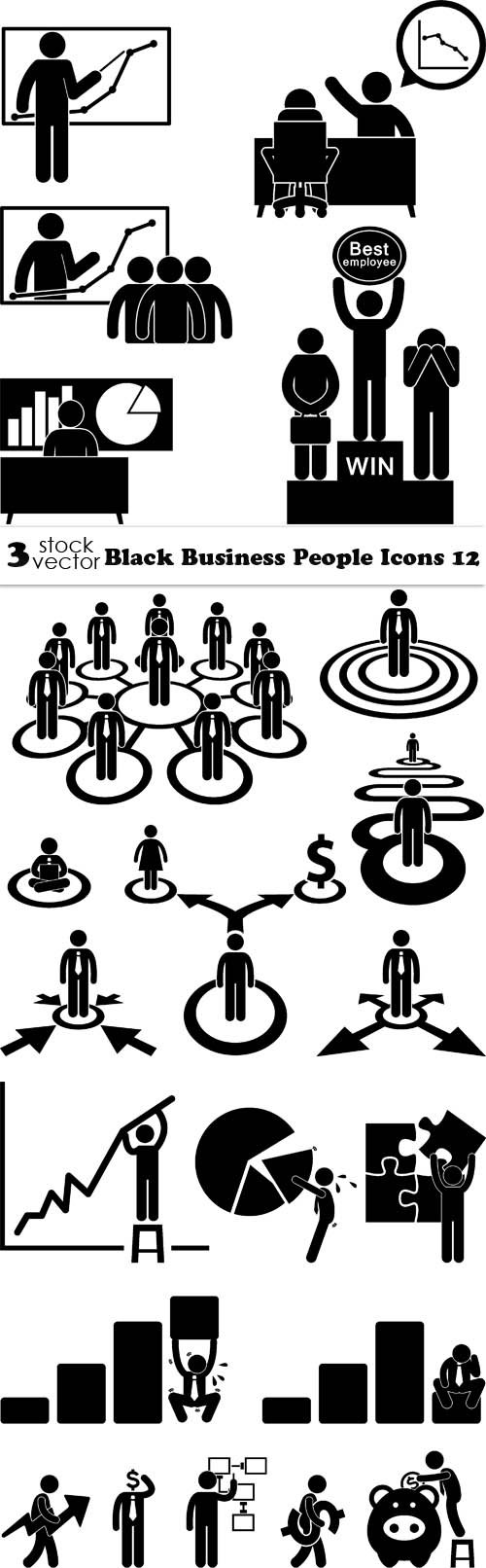Vectors - Black Business People Icons 12