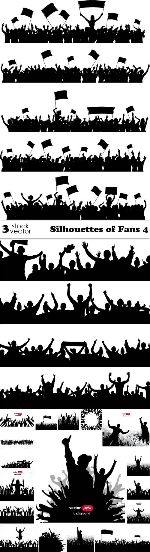Vectors - Silhouettes of Fans 4