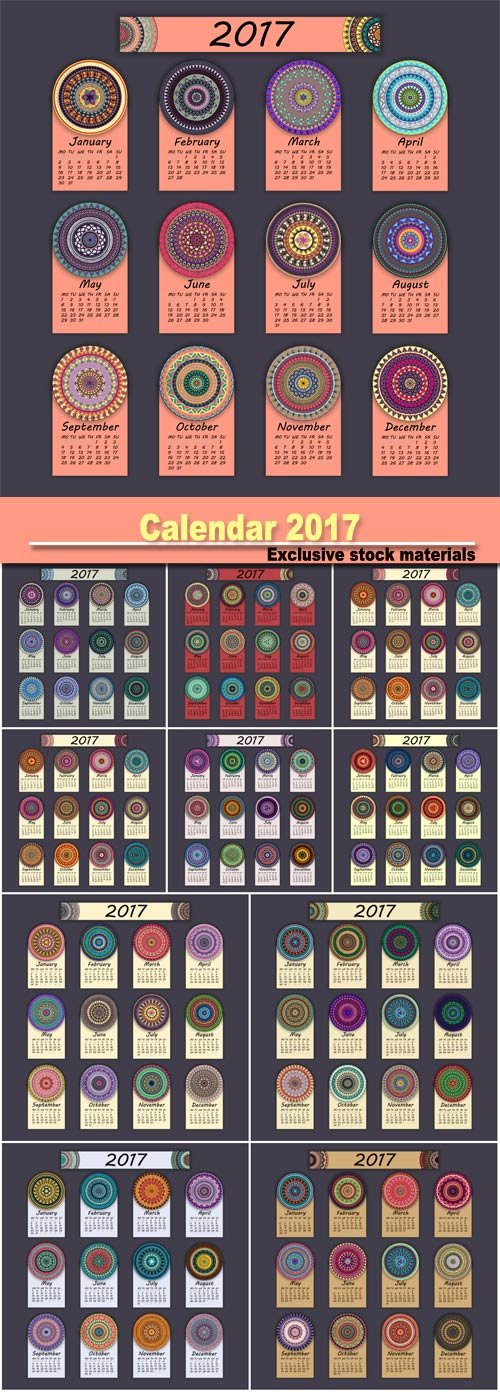 Calendar 2017, vintage decorative colorful elements, ornamental floral oriental pattern
