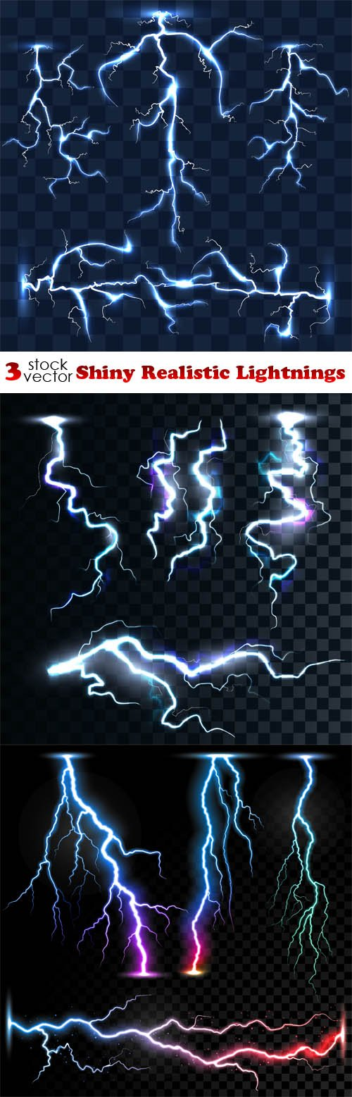 Vectors - Shiny Realistic Lightnings
