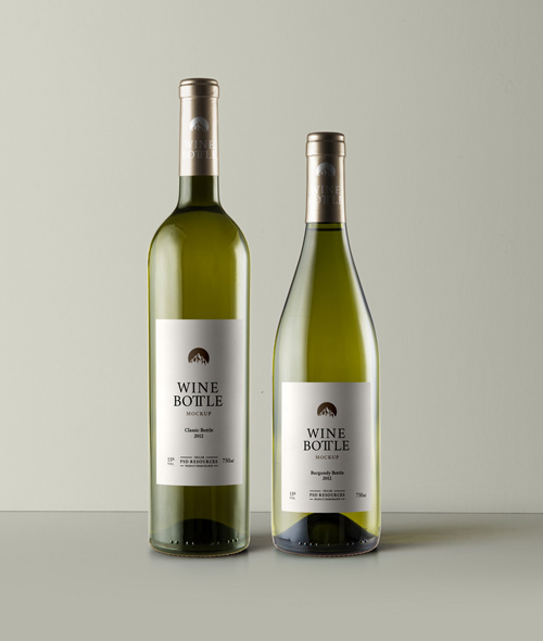 White Wine Bottle Mockup Vol 3