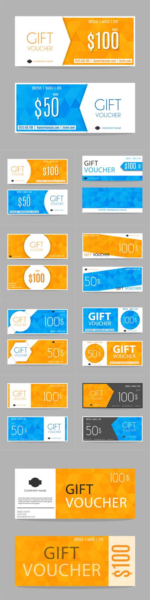 Vector Blue Yellow Gift Voucher Templates