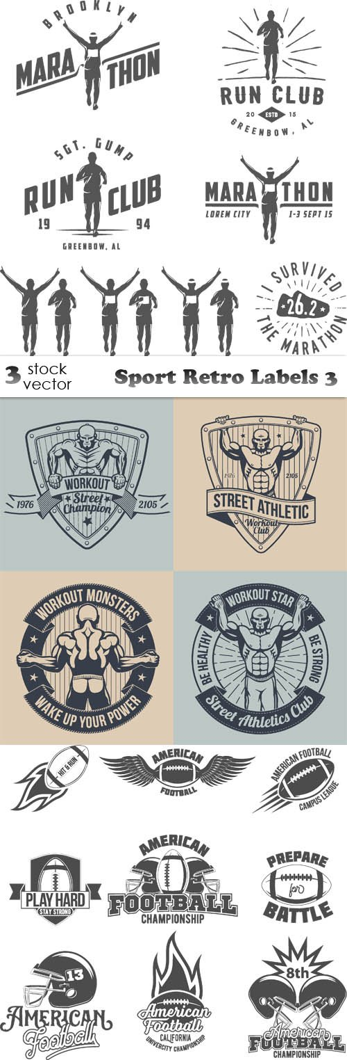 Vectors - Sport Retro Labels 3