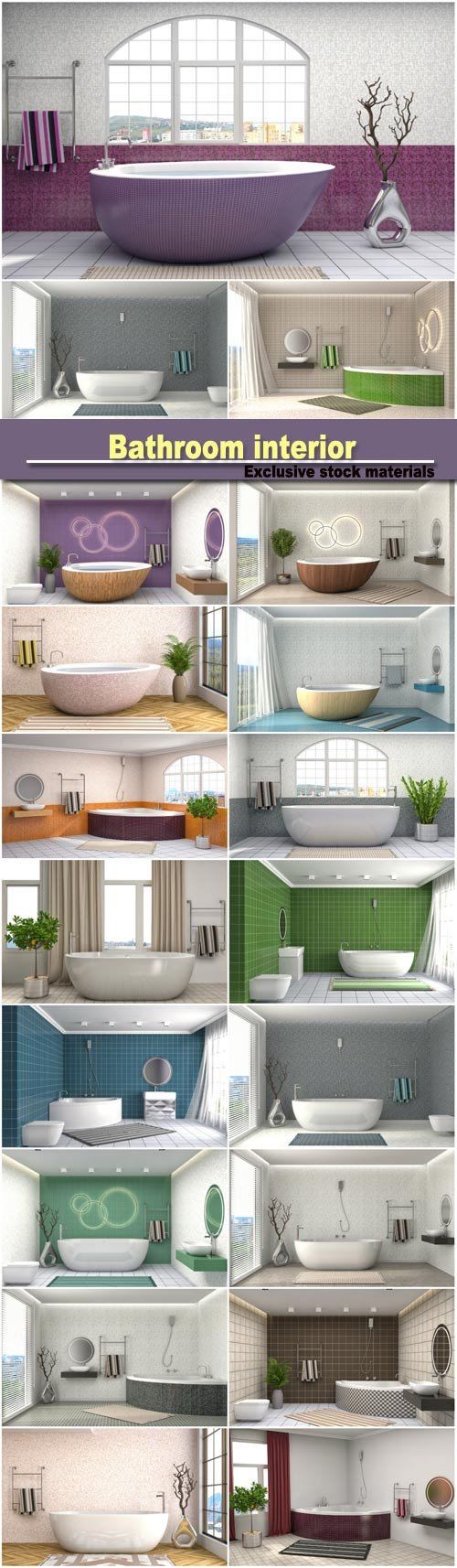 Bathroom interior, 3D illustration