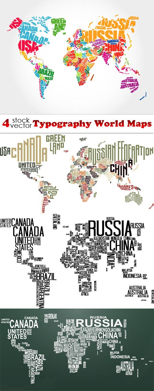 Vectors - Typography World Maps