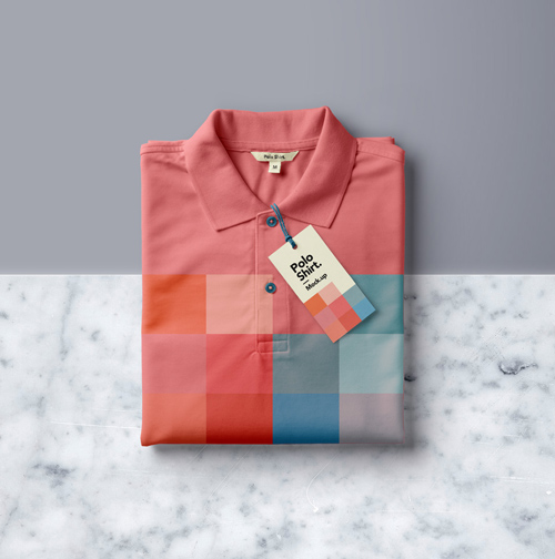 Folded Polo Shirt Mockup