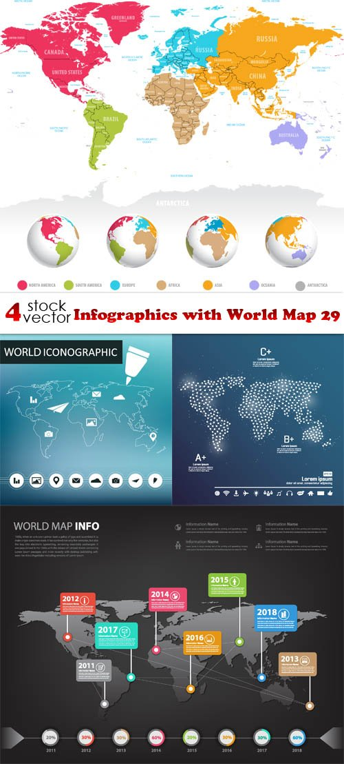 Vectors - Infographics with World Map 29