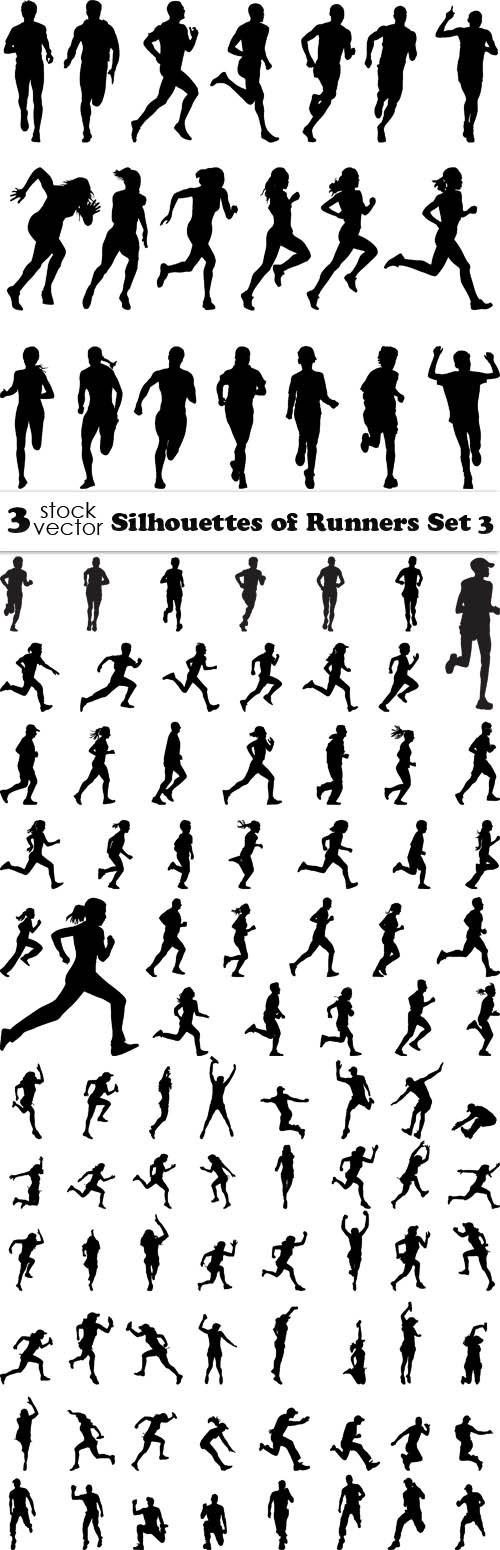 Vectors - Silhouettes of Runners Set 3