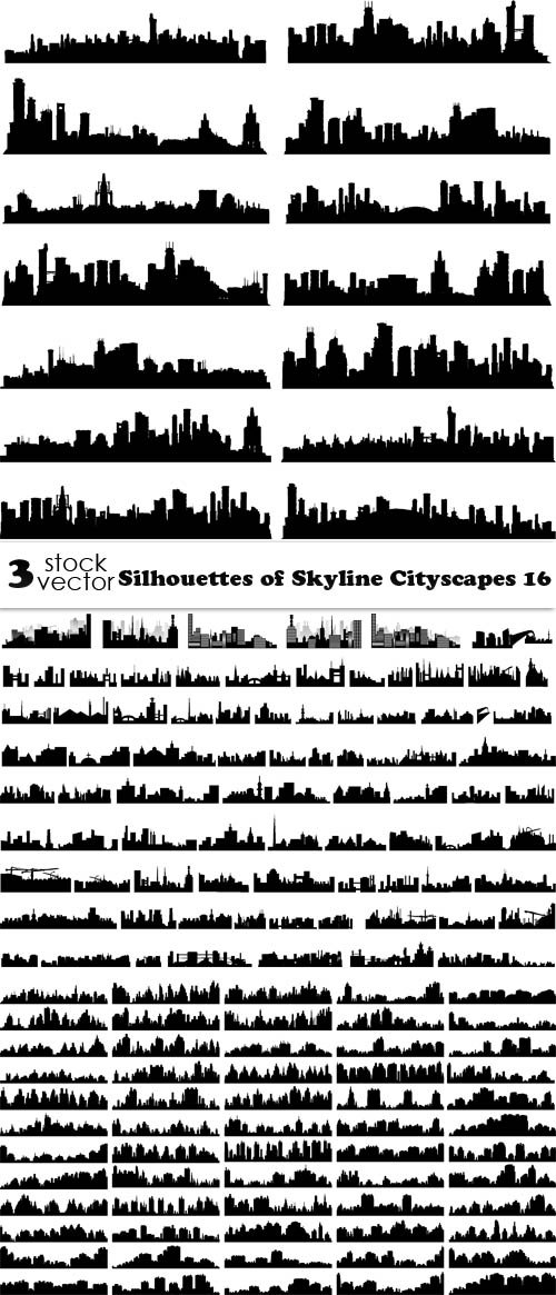 Vectors - Silhouettes of Skyline Cityscapes 16