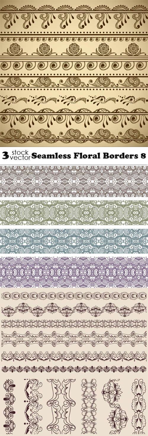 Vectors - Seamless Floral Borders 8