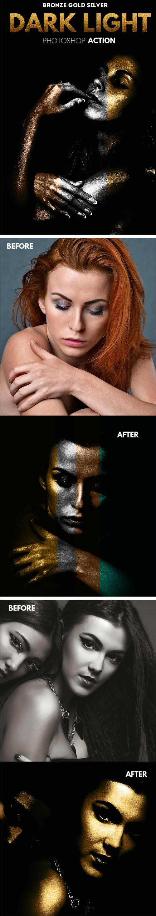 Dark Light Effect with Gold Silver and Bronze Skin Photoshop Action 17515658