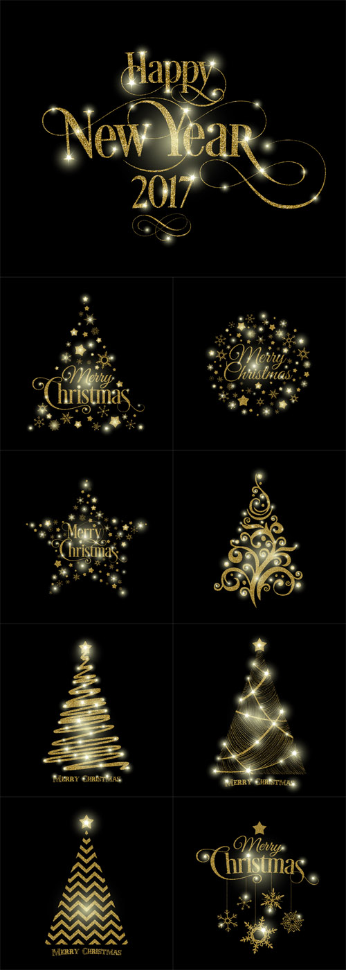 Vector Golden Merry Christmas, Happy New Year and Tree