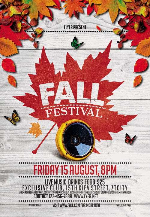Flyer Template - Fall Festival Vol 4 + Facebook Cover
