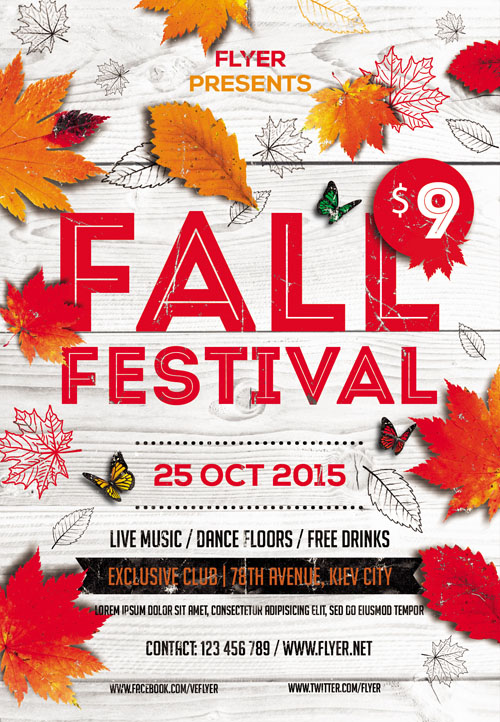Flyer Template - Fall Festival Vol 5 + Facebook Cover