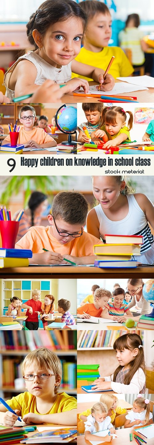 Happy children on knowledge in school class