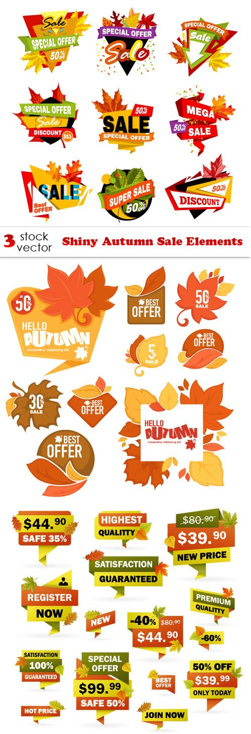 Vectors - Shiny Autumn Sale Elements