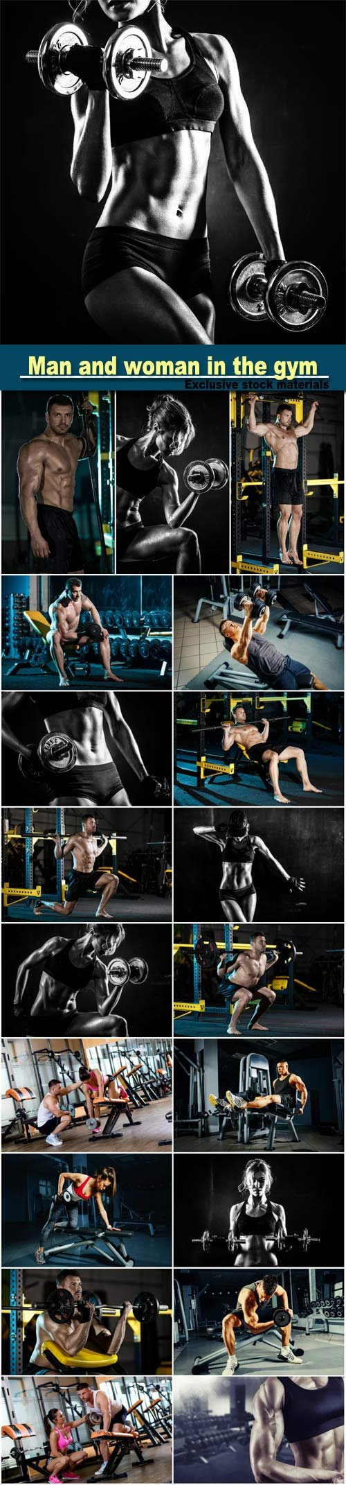 Strong young man doing legs exercise in the gym, woman workout with dumbbells