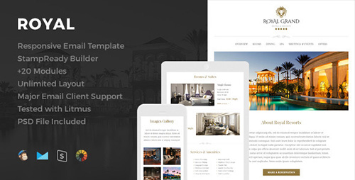 ThemeForest - Royal v1.1 - Responsive Email Template + Online Editor - 12296189