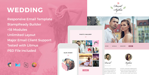 ThemeForest - Wedding v1.0 - Responsive Email Template + Online Editor - 16174391