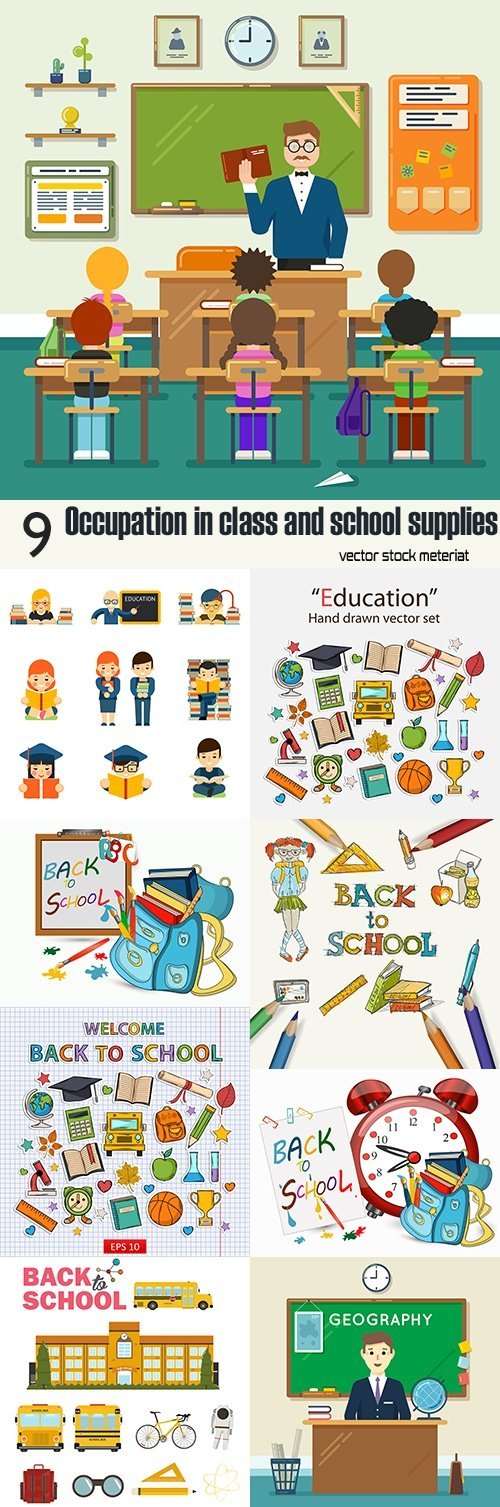 Occupation in class and school supplies