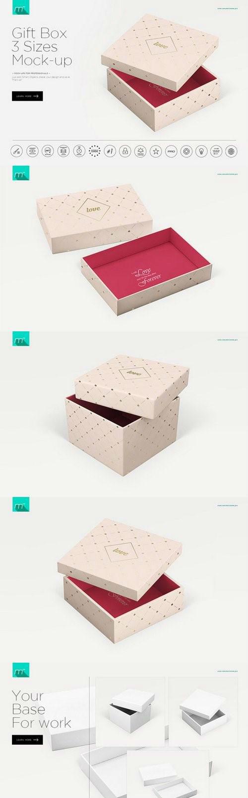 Gift Box 3 Sizes Mock-up 908049