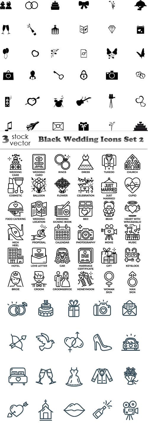 Vectors - Black Wedding Icons Set 2