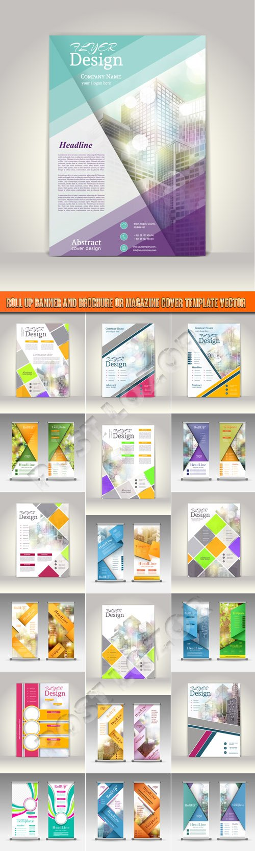 Roll up banner and brochure or magazine cover template vector