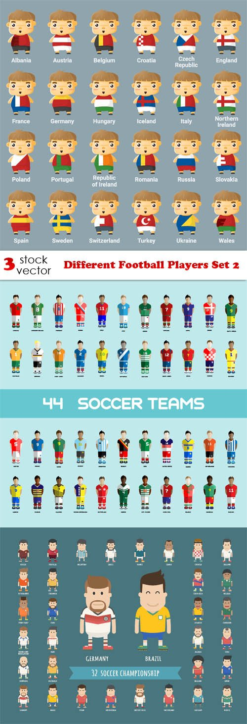 Vectors - Different Football Players Set 2