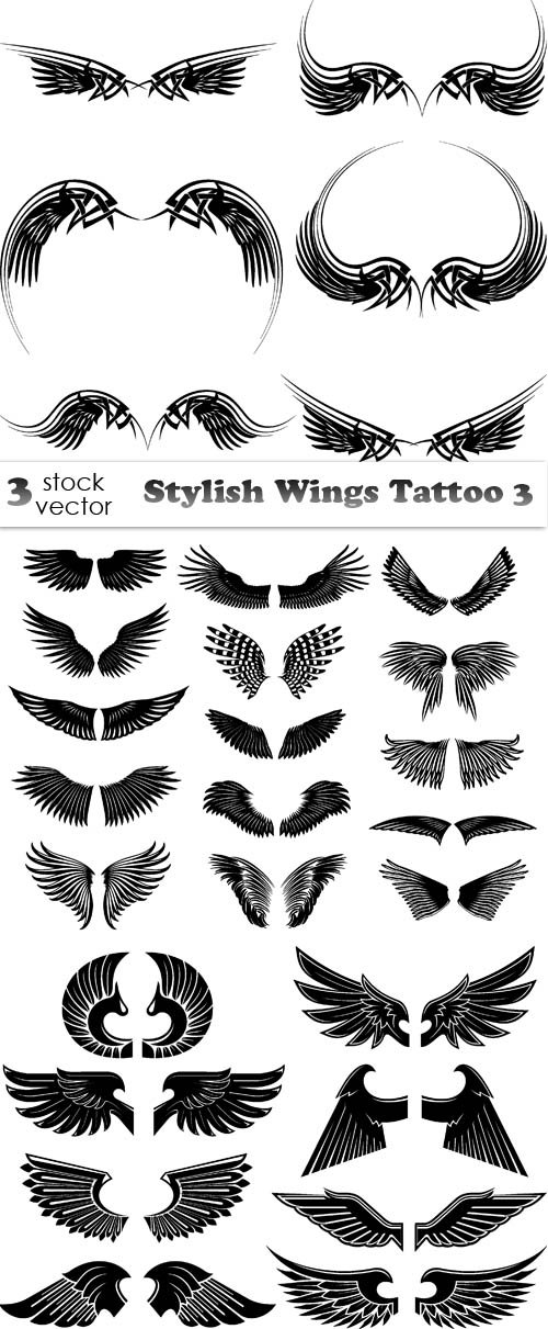 Vectors - Stylish Wings Tattoo 3