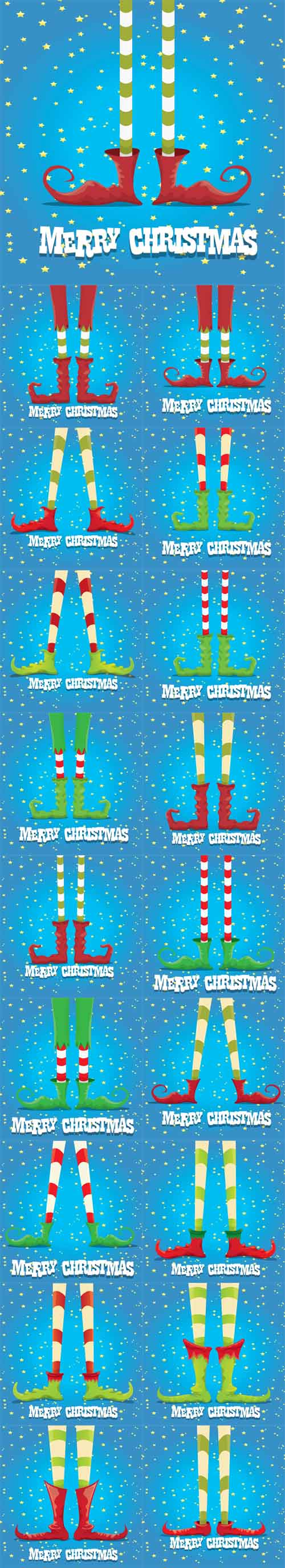 Vector Christmas Cartoon Elfs Legs